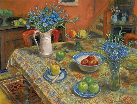 yellow tablecloth with cornflowers by margaret hannah olley