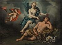 die göttin artemis/diana und der schlafende endymion mit hund by gennaro basile
