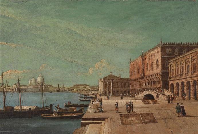 der dogenpalast in venedig mit der seufzerbrücke im vordergrund und der dogana und santa maria della salute im hintergrund by francesco tironi