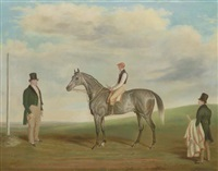 a grey racehorse with jockey up, with a gentleman and a stableboy by james loder of bath