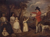 portrait of the spreull family at charing cross, glasgow, james spreull holding a woodcock with a gundog at his side, his wife and children seated beneath a tree by sir william allan