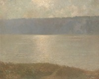 sunrise, palisades on the hudson by bayard henry tyler