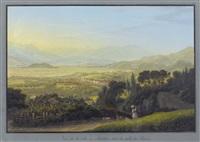 vue de la ville d'altstetten, dans la vallée de rhin by johann ludwig (louis) bleuler