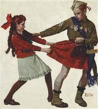 stolen goods (boy stealing girl's kilt) by norman rockwell