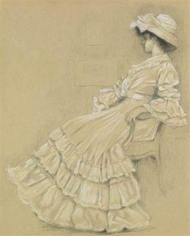 portrait dune élégante assise sur un fauteuil by pierre labrouche