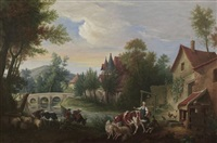 pastoral scene of peasants tending to cattle and sheep along a river by continental school