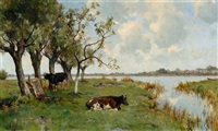 cows beneath a group of trees by the water by gérard altmann