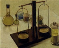 still life with laboratory scales by czeslaw wdowiszewski