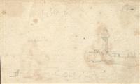 voiliers au port et l'entrée du port (deux dessins) by eugène boudin