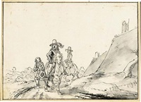 elegantly dressed riders on a path by gerrit claesz bleker