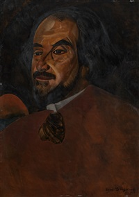 portrait of a man, said to be the actor nikolai aleksandrov by boris dmitrievich grigoriev