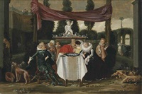 a merry company on a terrace by dirck hals
