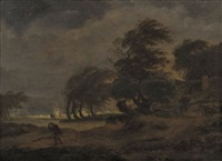peasants in a horse-drawn wagon on a country road with a traveller nearby, a windmill beyond, in a stormy landscape by hermanus van brussel