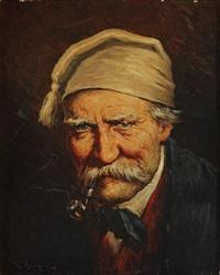 portrait d'homme à la pipe (+ portrait de femme au bonnet; pair) by roman arregui