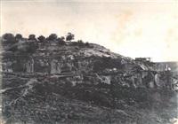 village de siloam, monolithe de forme égyptienne, jérusalem by auguste salzmann