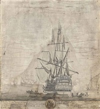 view of her majesty's ship royal sovereign by thomas baston
