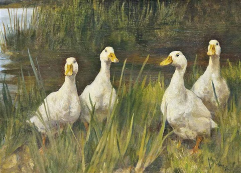 geese on a summers day by arthur wardle