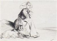 paysanne assise au bord de la mer et sa chèvre by philippe auguste jeanron
