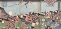 descending geese at takadono (takadono no rakudan) (triptych) by utagawa kuniyoshi