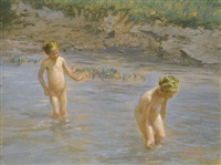 bathing children by oszkár glatz
