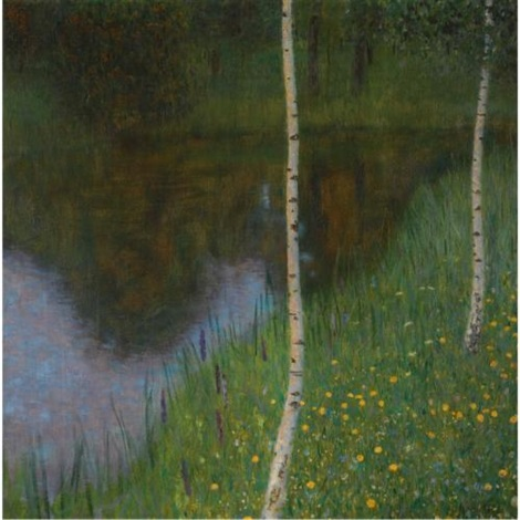 seeufer mit birken lakeshore with birches by gustav klimt