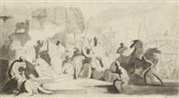 projet d'illustration: un char et des divinités antiques et deux scènes mythologiques (recto-verso) by charles nicolas cochin the younger