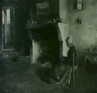 knitting beside the hearth by frederick samuel dellenbaugh