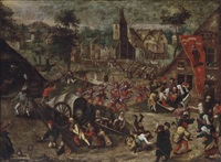 a village with figures celebrating the kermesse of saint george by pieter balten