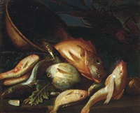 still life with fish, a lobster and a copper pot by elena recco