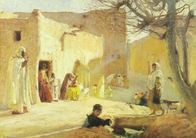 scène du village dans le sud algérien by louis joseph anthonissen
