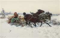 sleigh ride. girl in a sleigh by jaroslav friedrich julius vesin