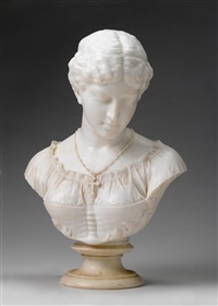 bust of maiden with necklace by william couper