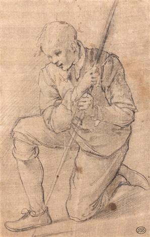 berger agenouillé (study) by jacopo (da empoli) chimenti