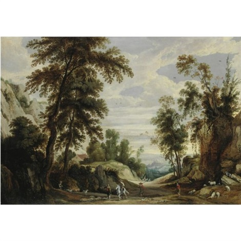 an extensive mountainous landscape with a horseman and shepherds with their flock on a path by jan wildens
