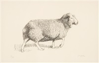 sheep walking by henry moore