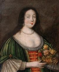 jeune femme tenant une corbeille de fleurs by jacques linard
