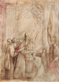 a bishop baptizing by giovanni andrea (il mastelletta) donducci