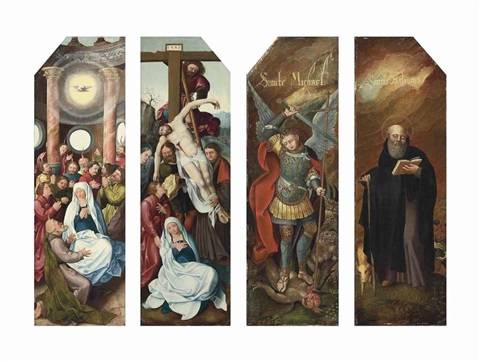 the wings of a triptych inner faces the pentecost the deposition and outer faces saint michael the archangel and saint anthony abbot pair by flemish school 16