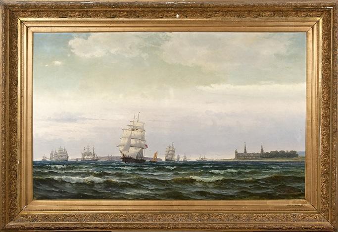 segel och ångfartyg på öresund med kronborgs slott och i fonden ven by edvard skari