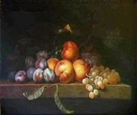 peches, raisins et prunes sur un entablement de pierre by paul liegeois