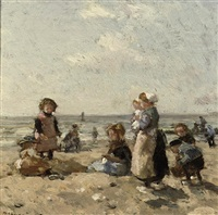 children on the beach at scheveningen by johannes evert hendrik akkeringa