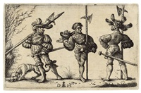three german soldiers with halberds and a dog by daniel hopfer