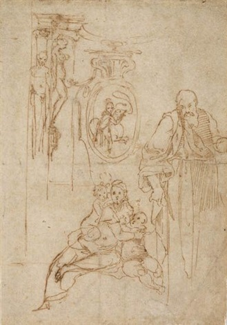 study for the holy family with the infant st john the baptist and studies of architectural motifs by perino del vaga
