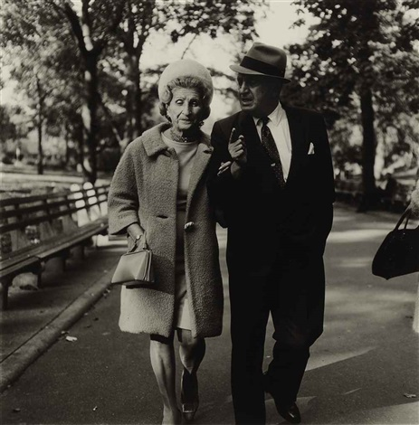 couple talking on a path nyc by diane arbus
