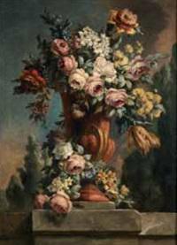 vaso di fiori in un paesaggio by vittorio amedeo rapous