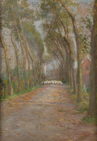 troupeau de moutons dans une allée by jan van de fackere