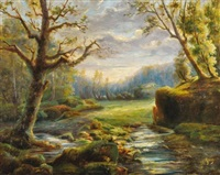 paysage de rivière et sous-bois by achille gros
