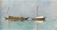 zwei lastboote auf dem lago maggiore by jules gachet