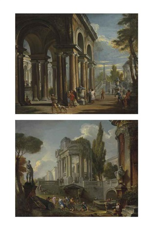 capriccio of a classical loggia and capriccio of palaces with giochi d'acqua (pair) by giovanni paolo panini