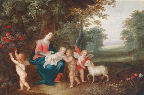 the virgin and child with the infant saint john the baptist two putti and a lamb by jan brueghel the younger and peeter van avont